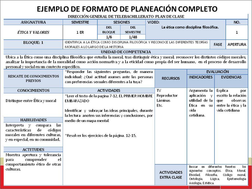 EJEMPLO DE FORMATO DE PLANEACIÓN COMPLETO