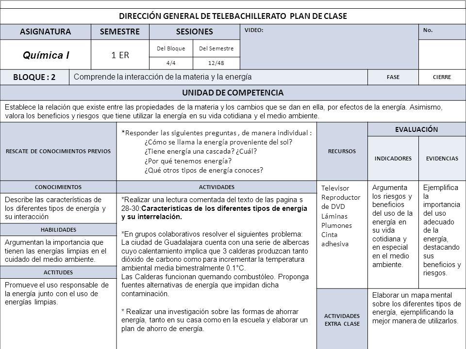 Química I 1 ER DIRECCIÓN GENERAL DE TELEBACHILLERATO PLAN DE CLASE
