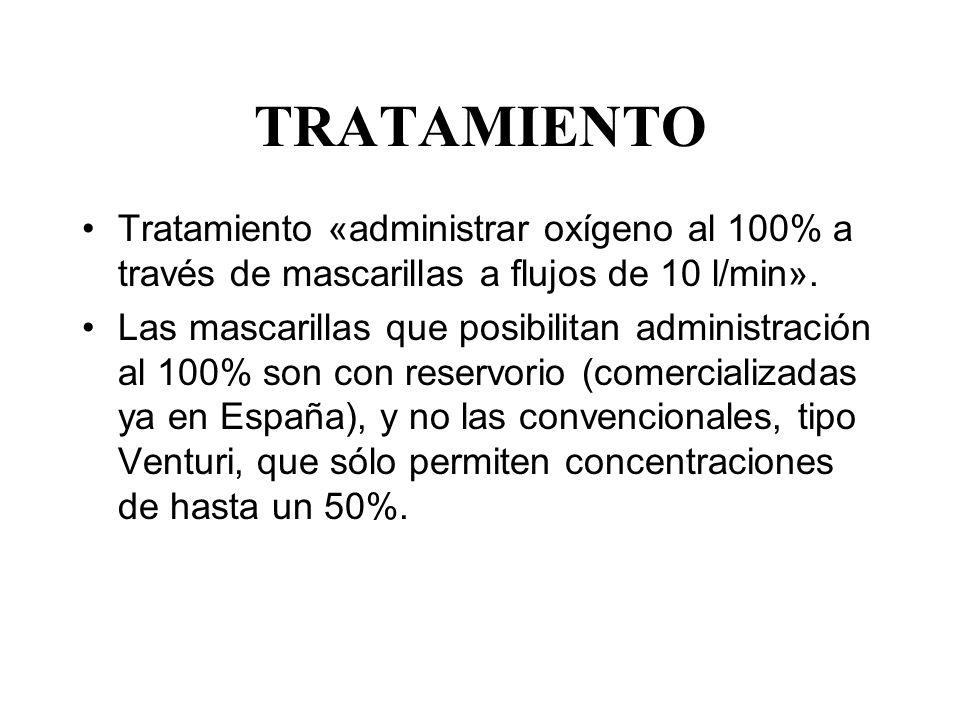 TRATAMIENTO Tratamiento «administrar oxígeno al 100% a través de mascarillas a flujos de 10 l/min».