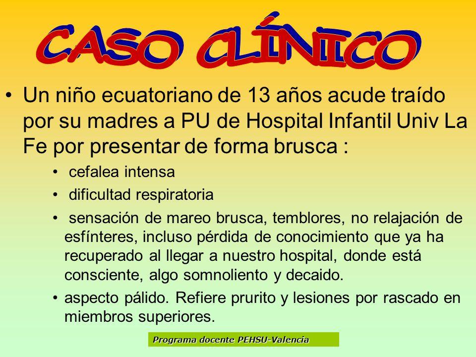 CASO CLÍNICO Un niño ecuatoriano de 13 años acude traído por su madres a PU de Hospital Infantil Univ La Fe por presentar de forma brusca :