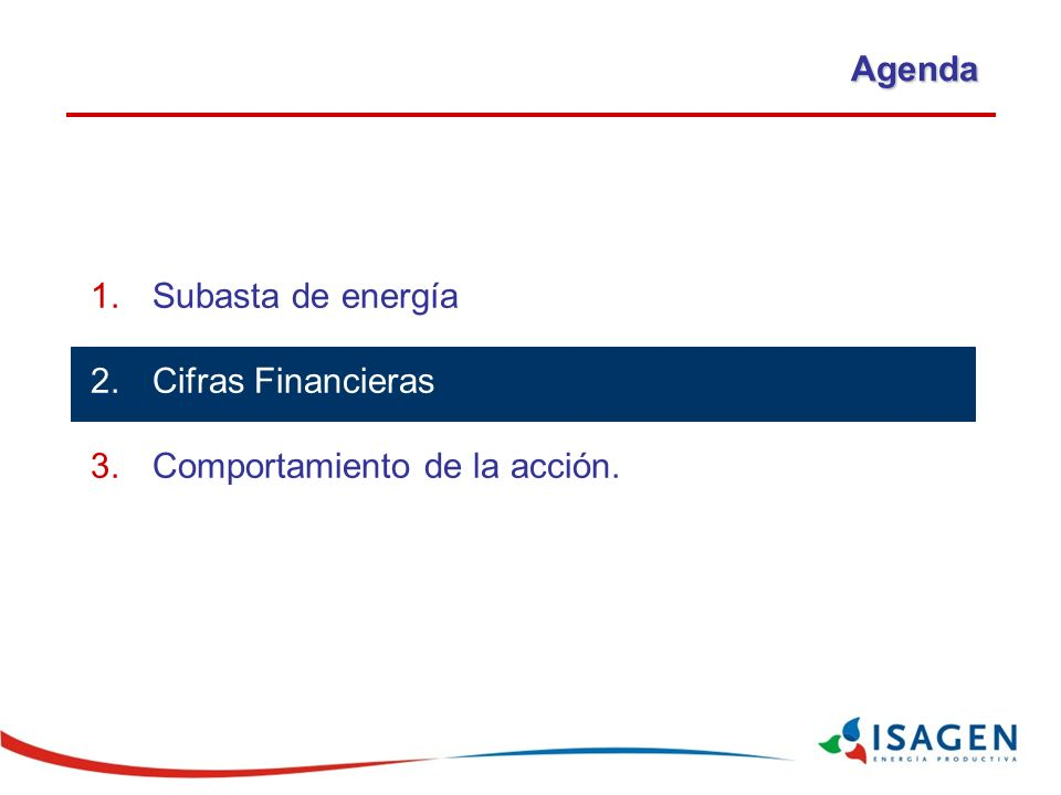 Agenda Subasta de energía y plan de expansión Cifras Financieras Comportamiento de la acción.