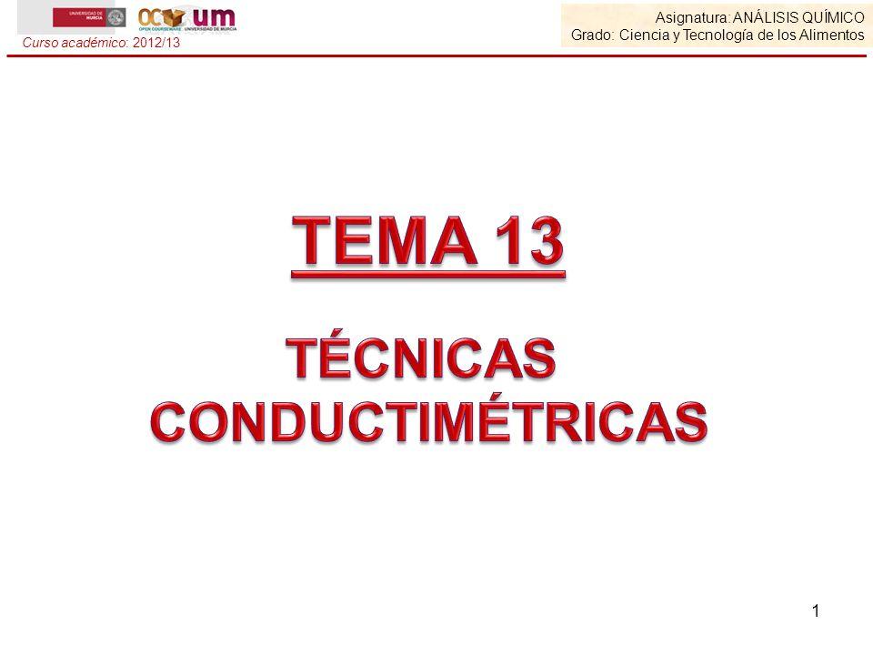TEMA 13 TÉCNICAS CONDUCTIMÉTRICAS Asignatura: Análisis Químico