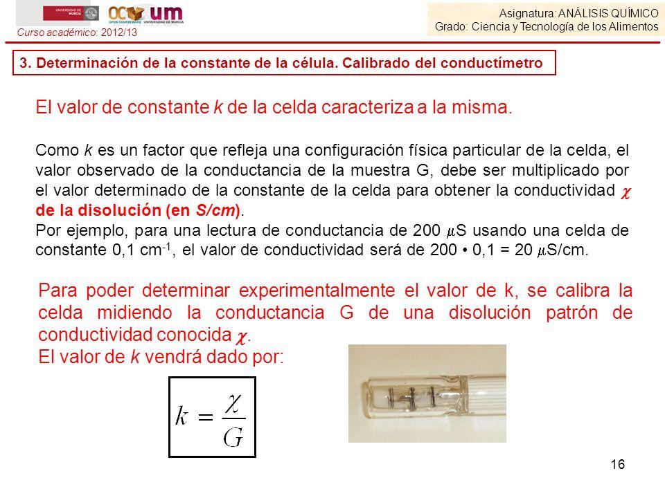 El valor de constante k de la celda caracteriza a la misma.