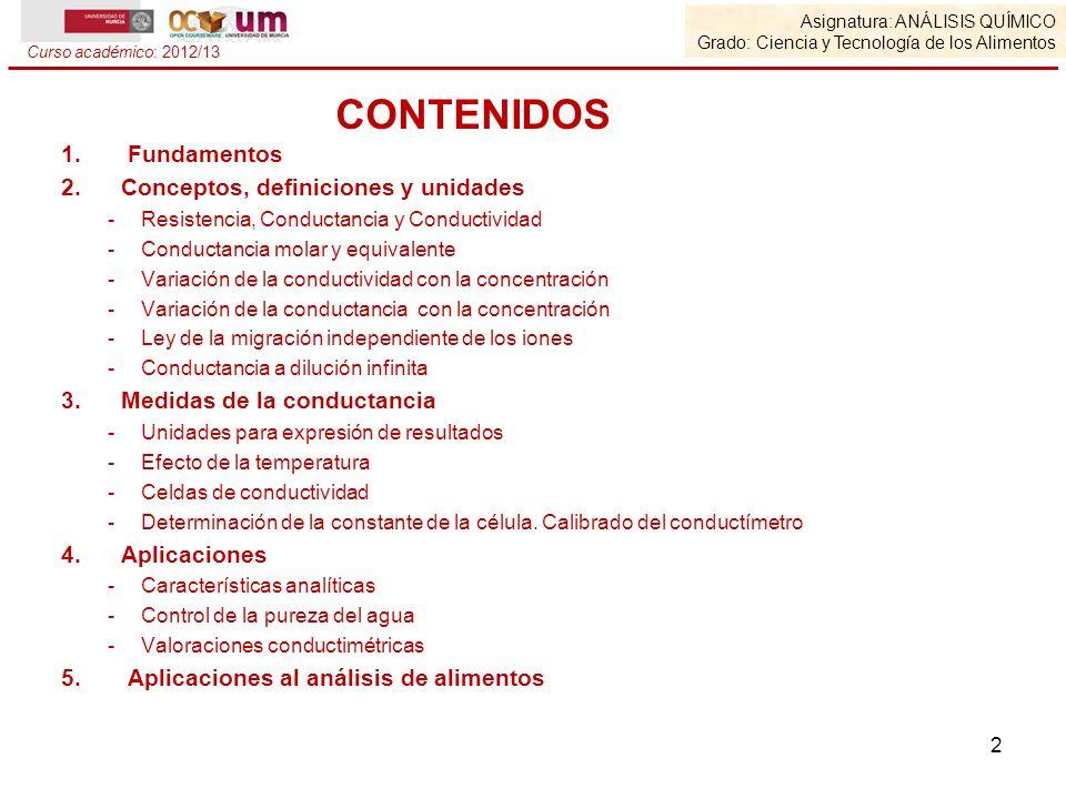 CONTENIDOS Fundamentos Conceptos, definiciones y unidades