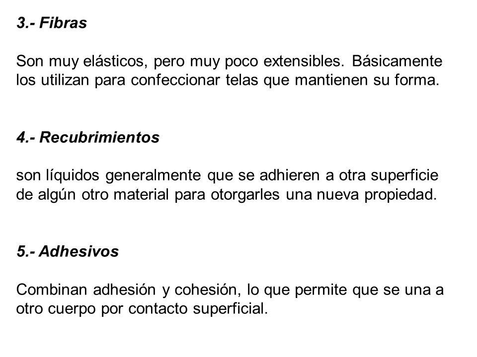 3. - Fibras Son muy elásticos, pero muy poco extensibles