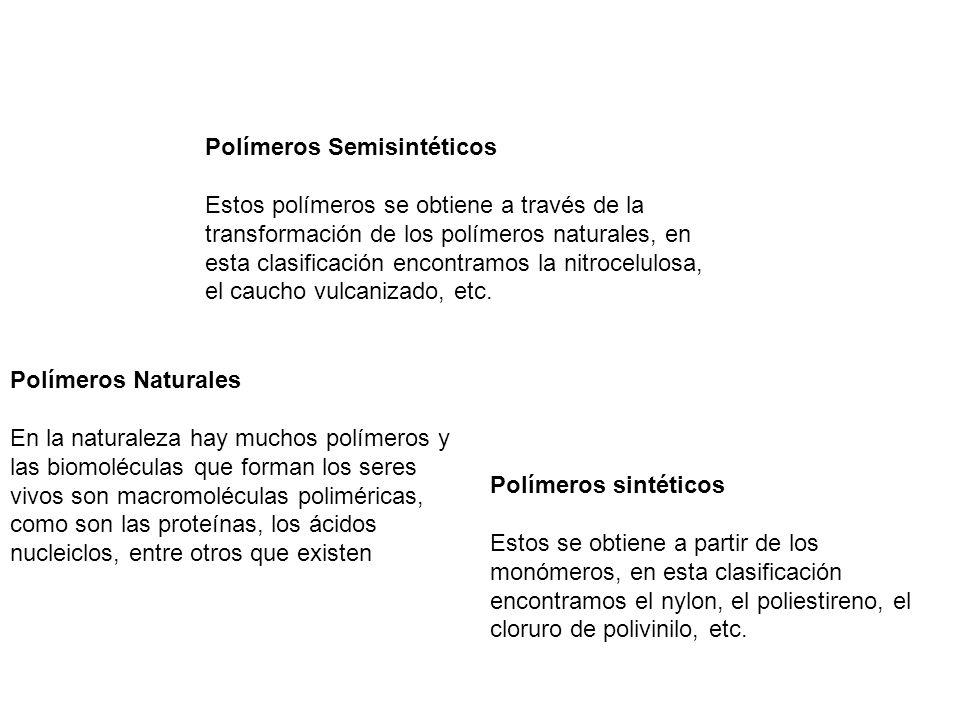 Polímeros Semisintéticos Estos polímeros se obtiene a través de la transformación de los polímeros naturales, en esta clasificación encontramos la nitrocelulosa, el caucho vulcanizado, etc.