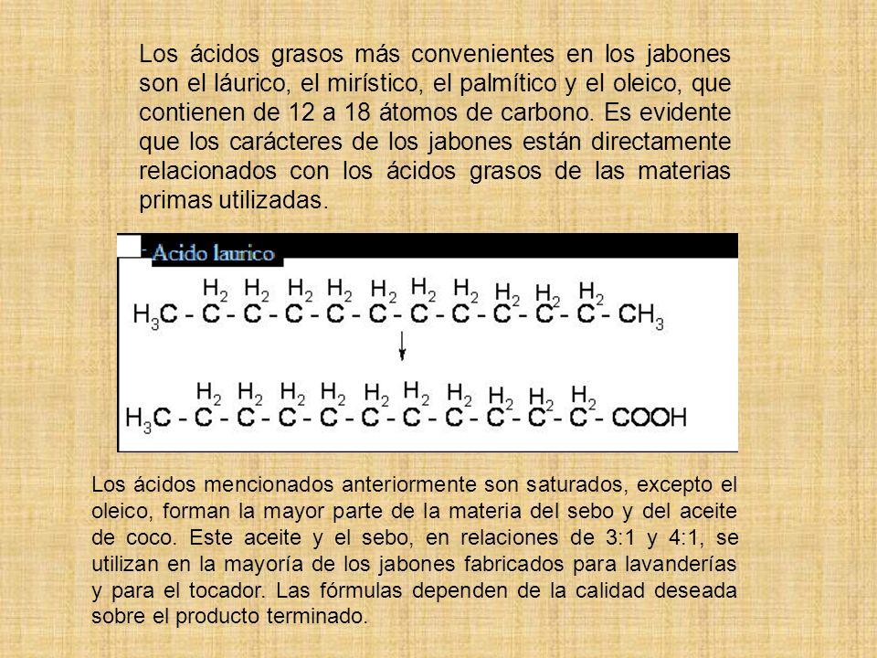 Los ácidos grasos más convenientes en los jabones son el láurico, el mirístico, el palmítico y el oleico, que contienen de 12 a 18 átomos de carbono. Es evidente que los carácteres de los jabones están directamente relacionados con los ácidos grasos de las materias primas utilizadas.