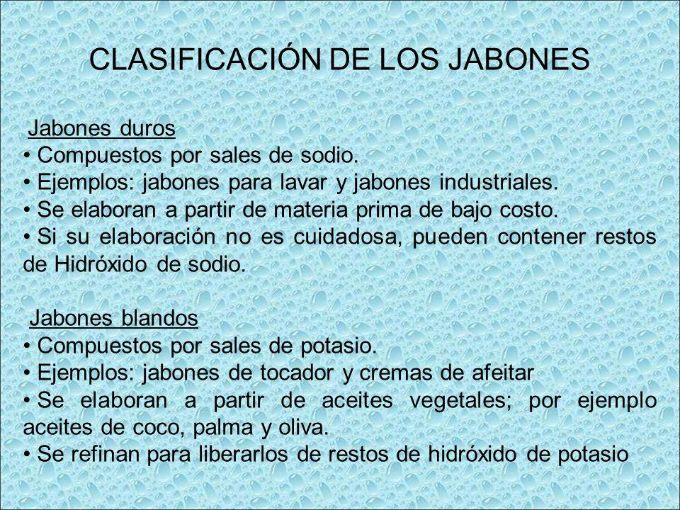 CLASIFICACIÓN DE LOS JABONES