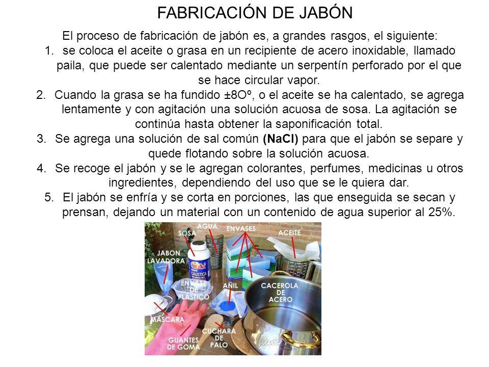 El proceso de fabricación de jabón es, a grandes rasgos, el siguiente:
