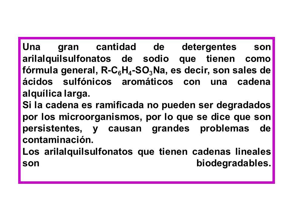 Una gran cantidad de detergentes son arilalquilsulfonatos de sodio que tienen como fórmula general, R-C6H4-SO3Na, es decir, son sales de ácidos sulfónicos aromáticos con una cadena alquílica larga.