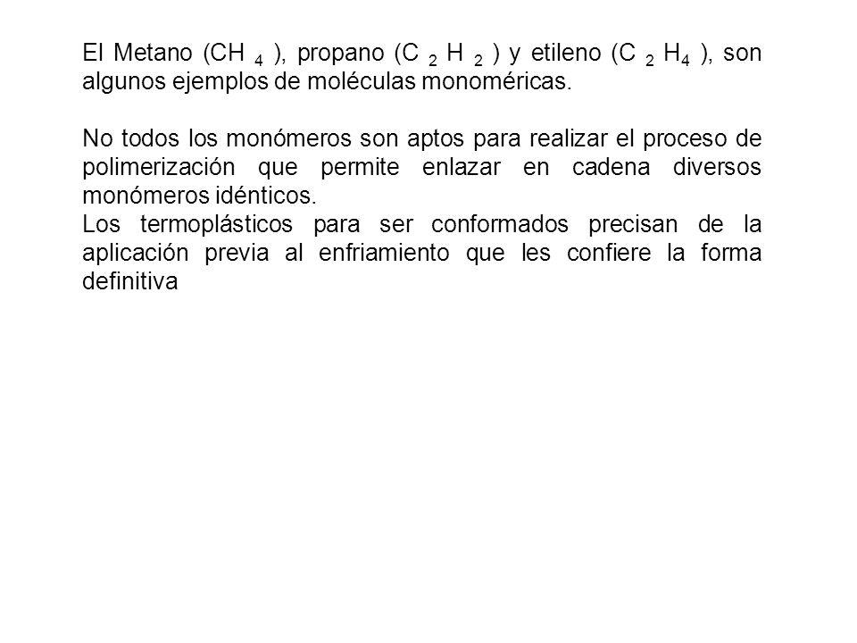 El Metano (CH 4 ), propano (C 2 H 2 ) y etileno (C 2 H4 ), son algunos ejemplos de moléculas monoméricas.