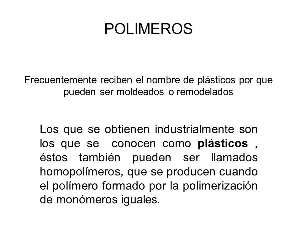 POLIMEROS Frecuentemente reciben el nombre de plásticos por que pueden ser moldeados o remodelados