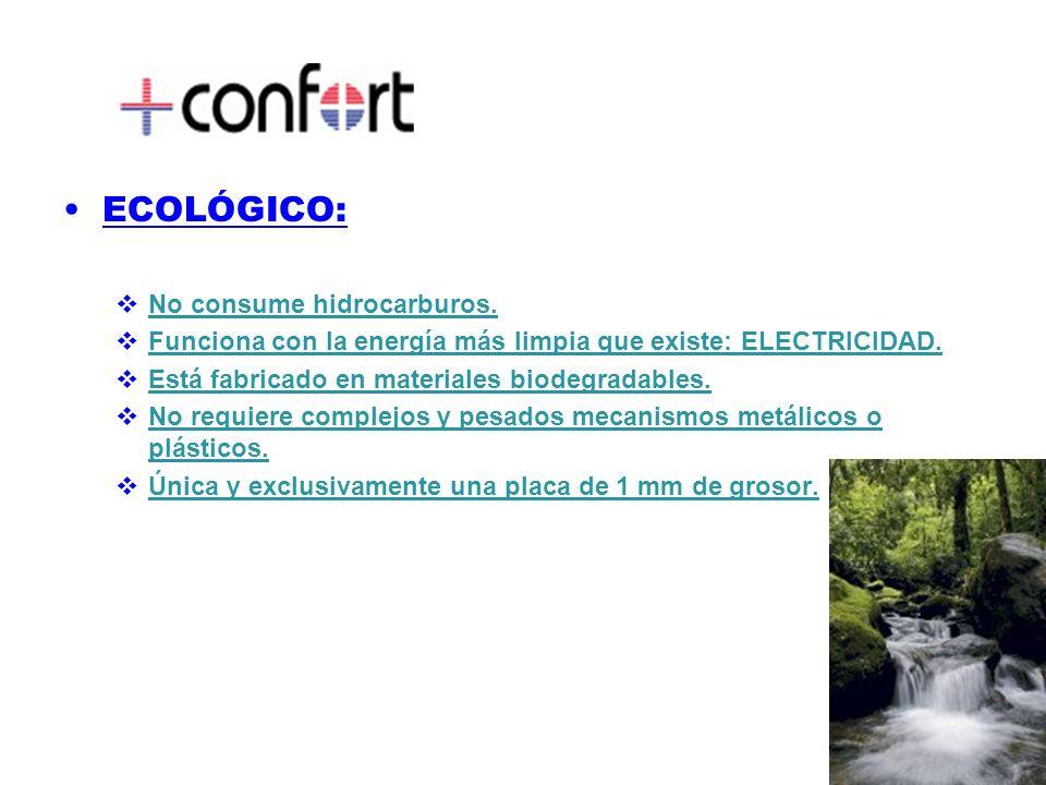 ECOLÓGICO: No consume hidrocarburos.