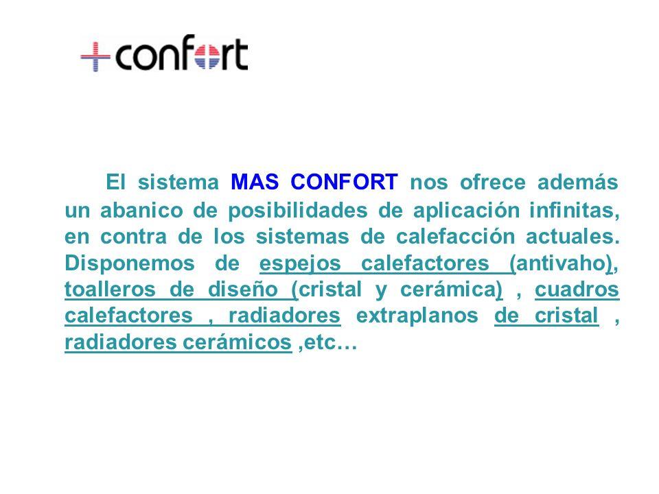 El sistema MAS CONFORT nos ofrece además un abanico de posibilidades de aplicación infinitas, en contra de los sistemas de calefacción actuales.