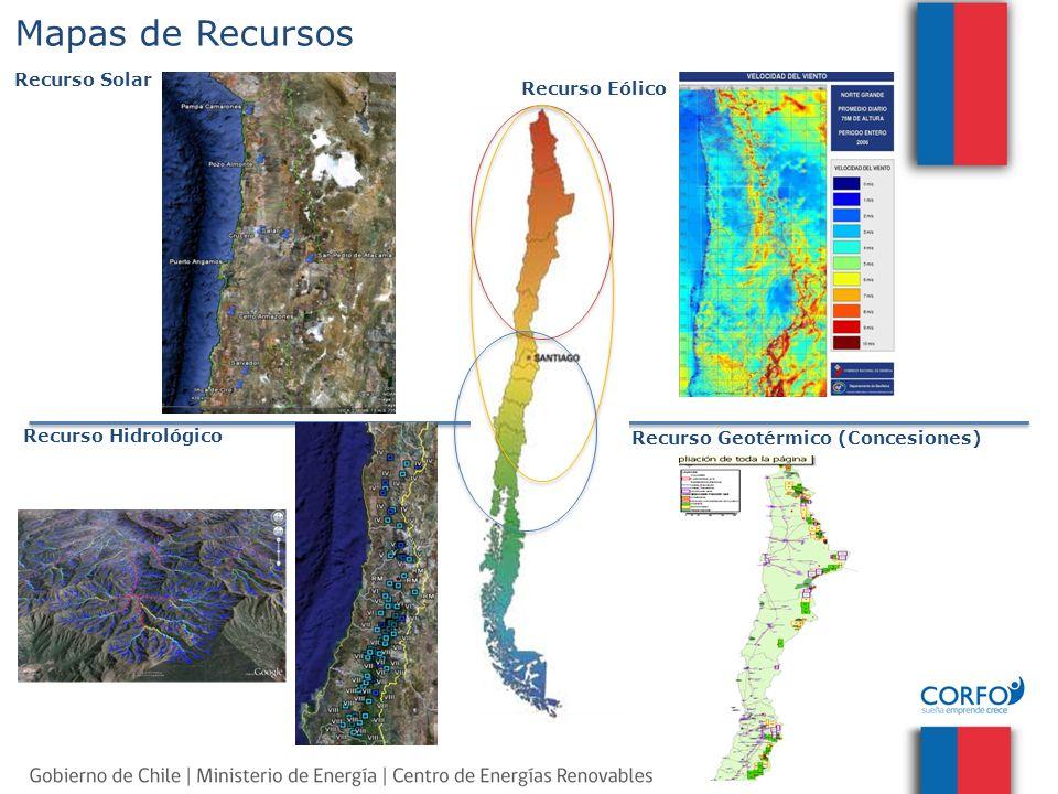 Mapas de Recursos Recurso Solar Recurso Eólico Recurso Hidrológico