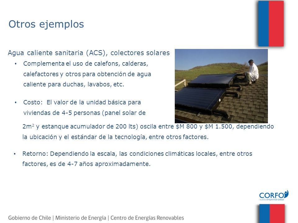 Otros ejemplos Agua caliente sanitaria (ACS), colectores solares