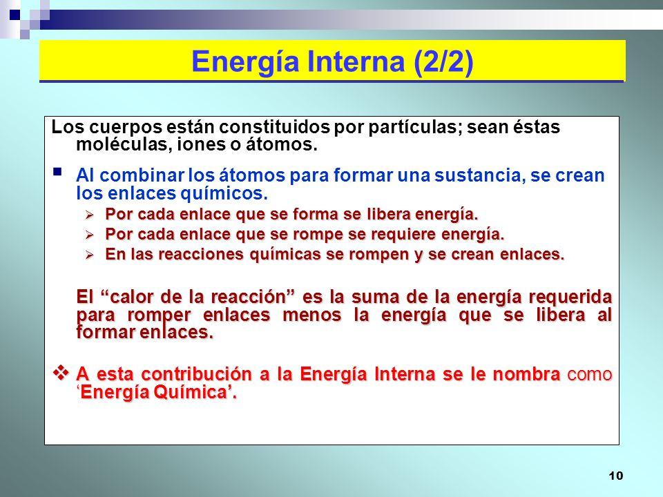 Energía Interna (2/2) Los cuerpos están constituidos por partículas; sean éstas moléculas, iones o átomos.