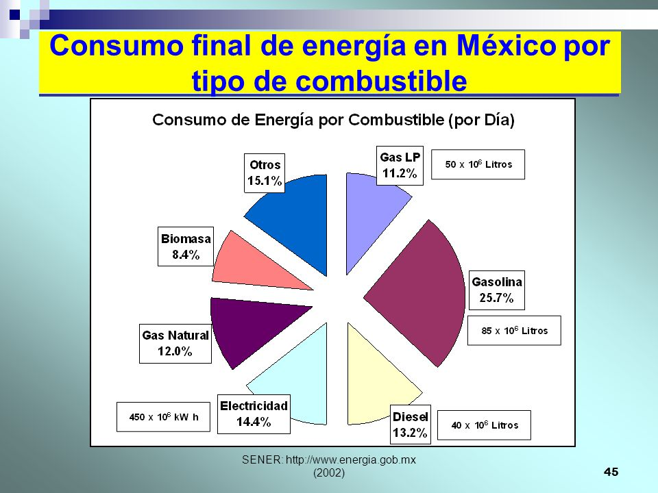 Consumo final de energía en México por tipo de combustible
