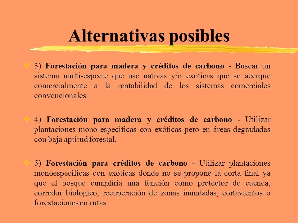 Alternativas posibles