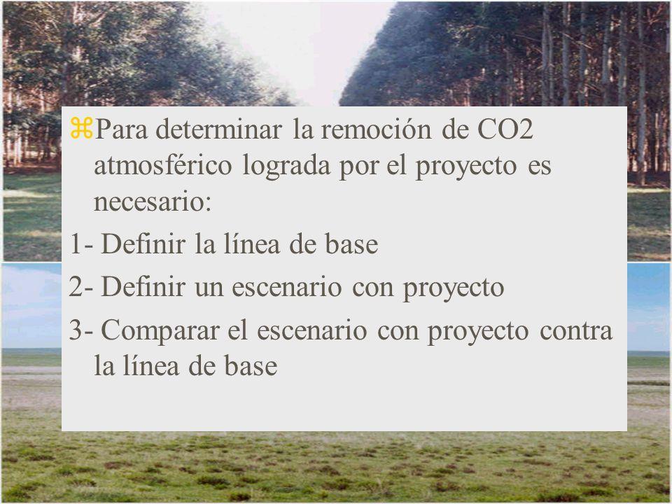 Para determinar la remoción de CO2 atmosférico lograda por el proyecto es necesario: