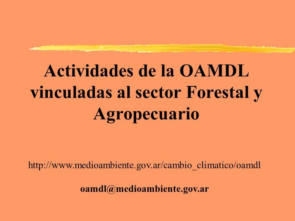 Actividades de la OAMDL vinculadas al sector Forestal y Agropecuario