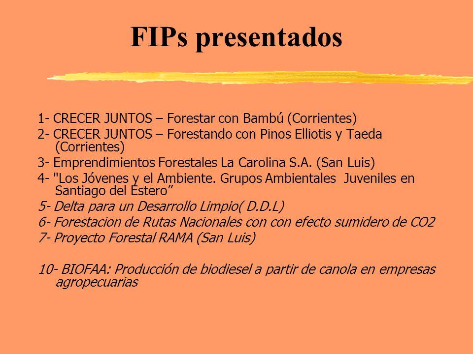FIPs presentados 1- CRECER JUNTOS – Forestar con Bambú (Corrientes)