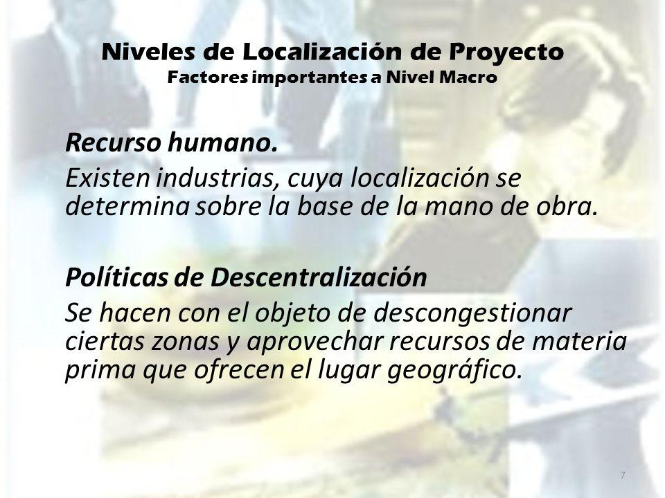 Niveles de Localización de Proyecto Factores importantes a Nivel Macro
