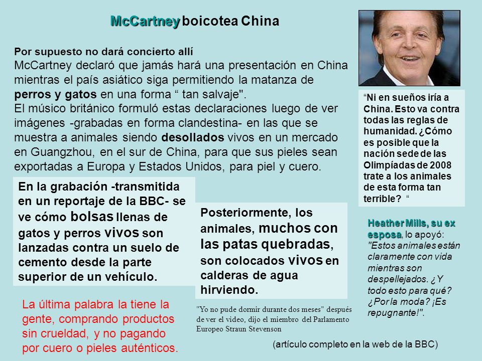 McCartney boicotea China