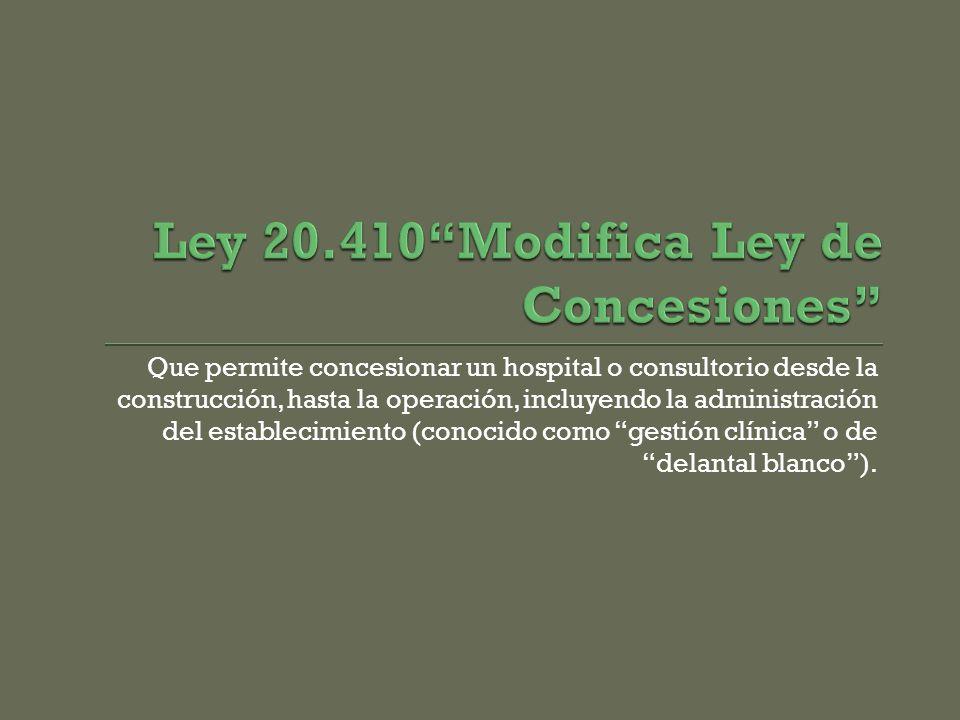 Ley 20.410 Modifica Ley de Concesiones