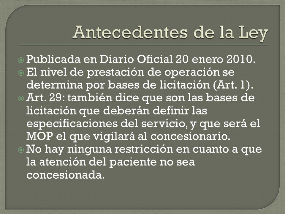 Antecedentes de la Ley Publicada en Diario Oficial 20 enero 2010.