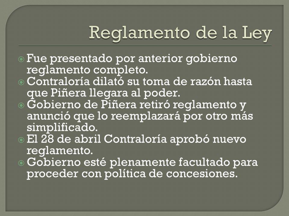 Reglamento de la Ley Fue presentado por anterior gobierno reglamento completo.
