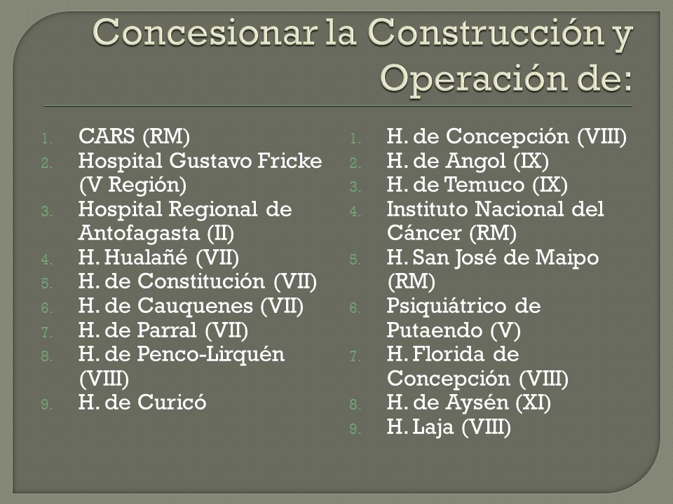 Concesionar la Construcción y Operación de: