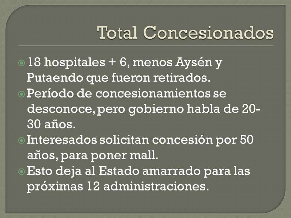 Total Concesionados 18 hospitales + 6, menos Aysén y Putaendo que fueron retirados.