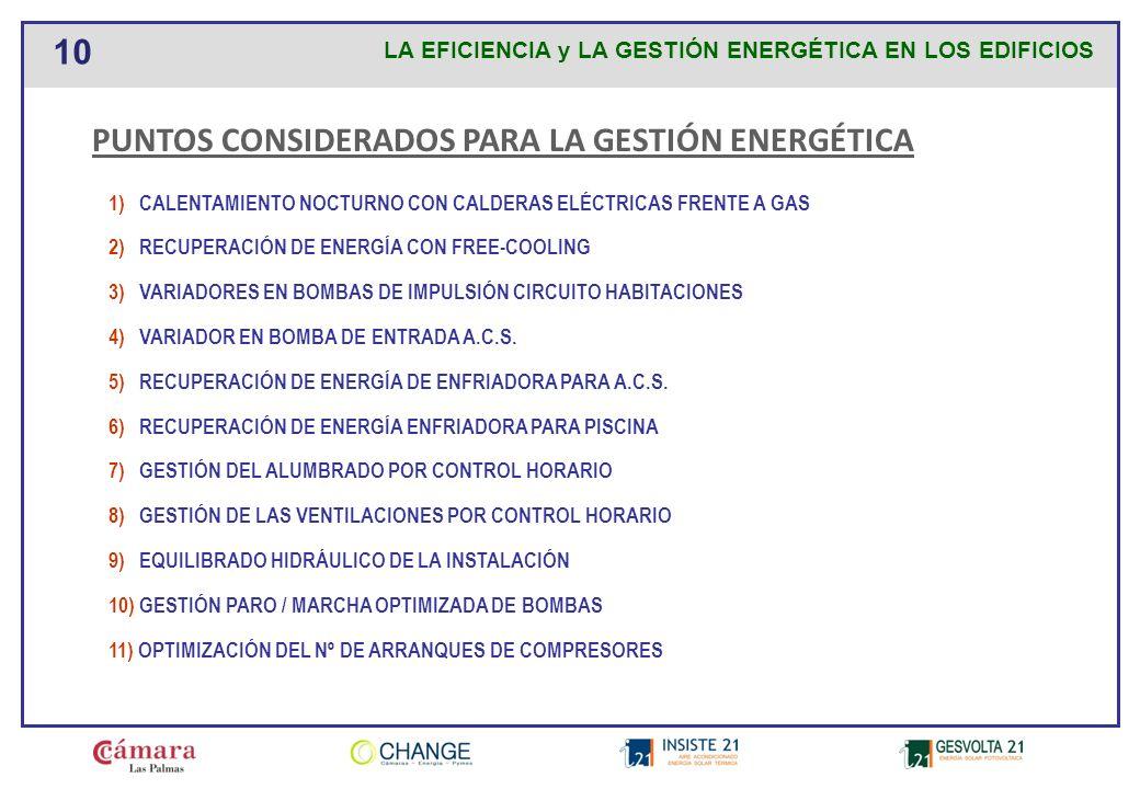 PUNTOS CONSIDERADOS PARA LA GESTIÓN ENERGÉTICA