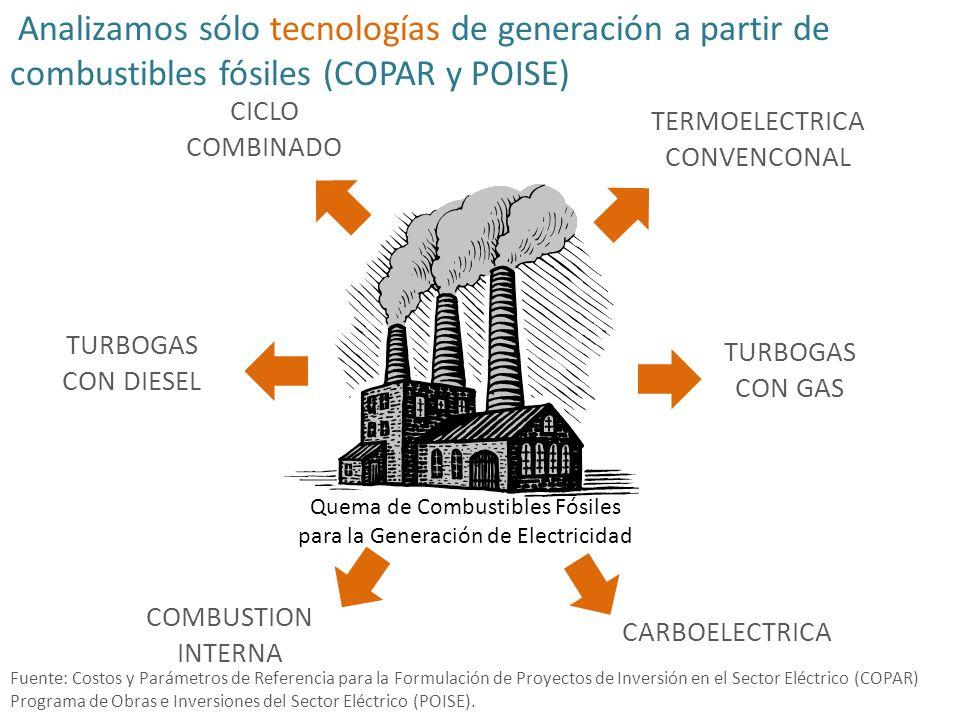 Analizamos sólo tecnologías de generación a partir de combustibles fósiles (COPAR y POISE)