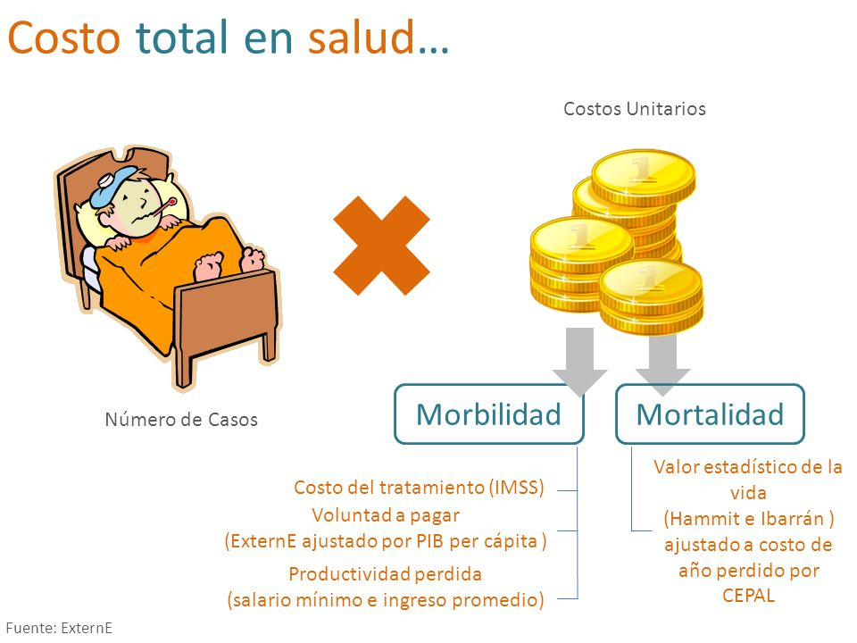 Costo total en salud… Morbilidad Mortalidad Costos Unitarios