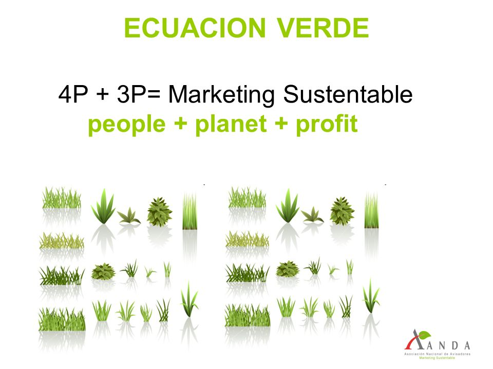 ECUACION VERDE 4P + 3P= Marketing Sustentable people + planet + profit