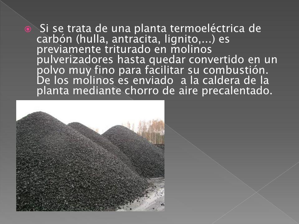 Si se trata de una planta termoeléctrica de carbón (hulla, antracita, lignito,...) es previamente triturado en molinos pulverizadores hasta quedar convertido en un polvo muy fino para facilitar su combustión.