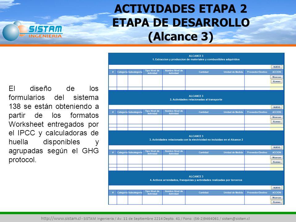 ACTIVIDADES ETAPA 2 ETAPA DE DESARROLLO (Alcance 3)