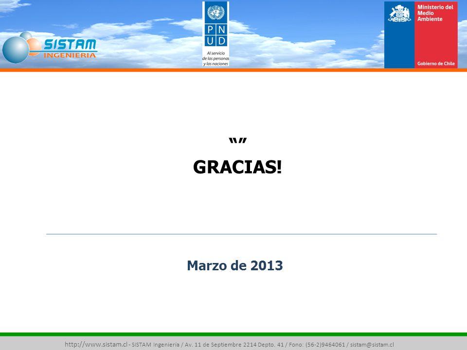 GRACIAS. Marzo de 2013. http://www.sistam.cl - SISTAM Ingeniería / Av.