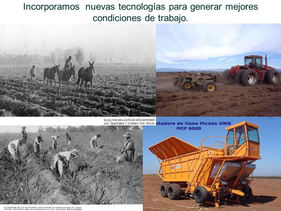 Incorporamos nuevas tecnologías para generar mejores condiciones de trabajo.