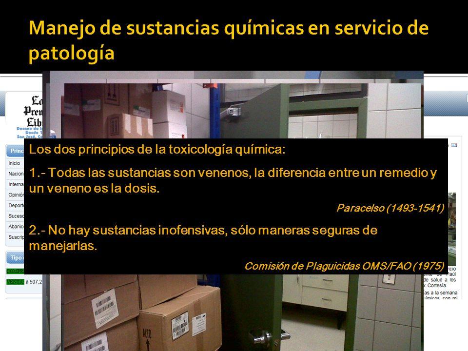 Manejo de sustancias químicas en servicio de patología
