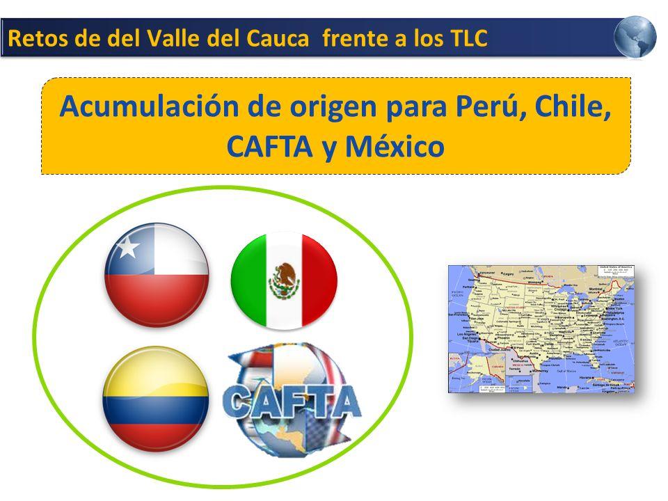 Acumulación de origen para Perú, Chile, CAFTA y México