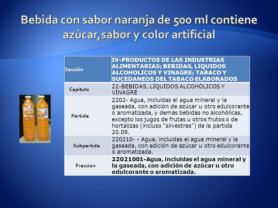 Bebida con sabor naranja de 500 ml contiene azúcar,sabor y color artificial
