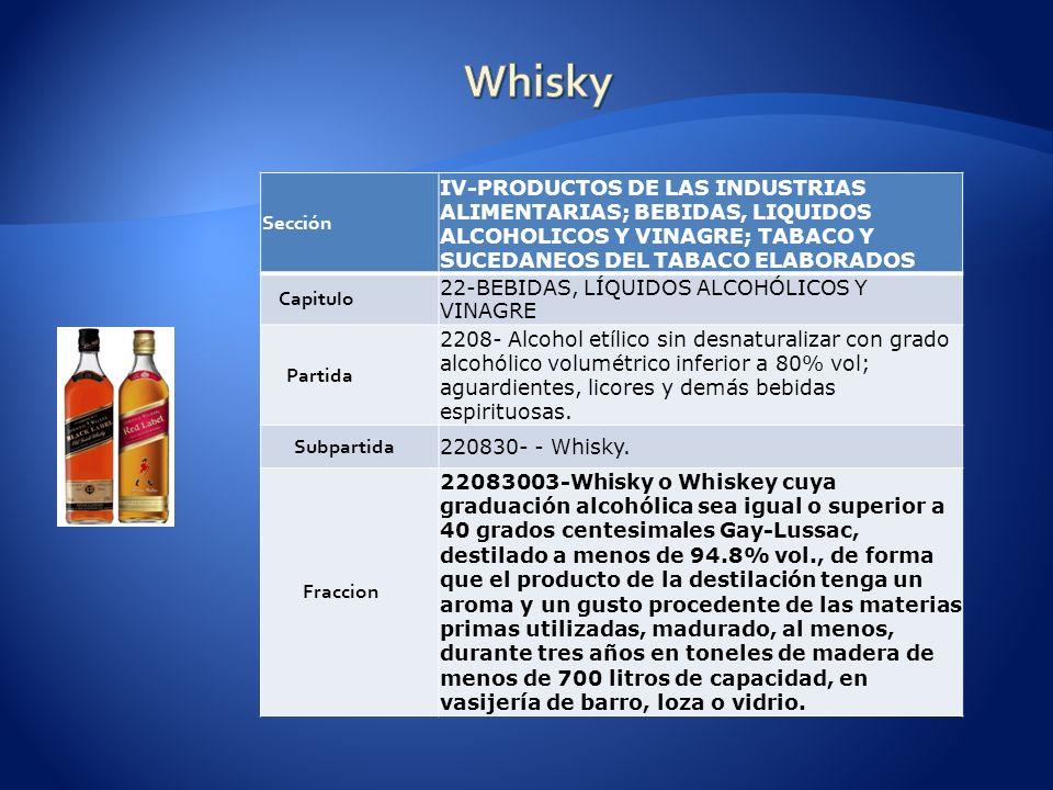 Whisky Sección. IV-PRODUCTOS DE LAS INDUSTRIAS ALIMENTARIAS; BEBIDAS, LIQUIDOS ALCOHOLICOS Y VINAGRE; TABACO Y SUCEDANEOS DEL TABACO ELABORADOS.