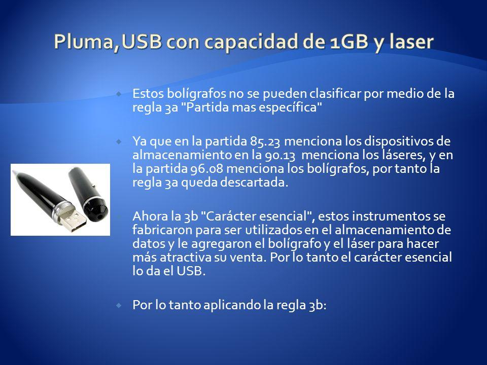 Pluma,USB con capacidad de 1GB y laser