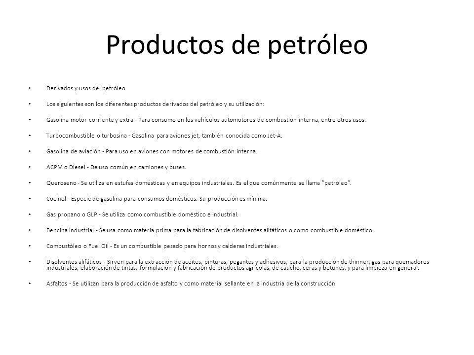 Productos de petróleo Derivados y usos del petróleo