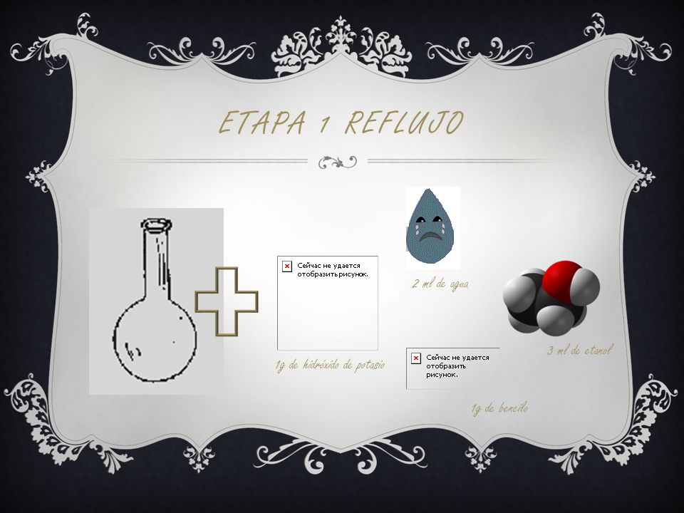 Etapa 1 Reflujo 2 ml de agua 3 ml de etanol 1g de hidróxido de potasio
