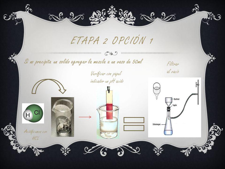 Etapa 2 opción 1 Si no precipita un solido agregar la mezcla a un vaso de 50ml. Filtrar. al vacío.