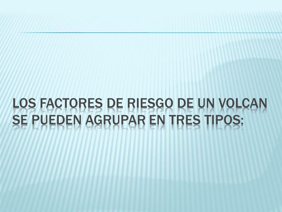 Los factores DE RIESGO DE UN VOLCAN SE PUEDEN AGRUPAR EN TRES TIPOS: